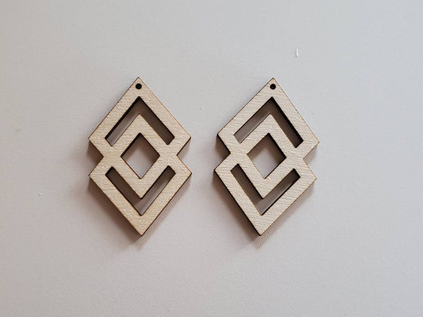 Wood Two Diamond Earring Blanks