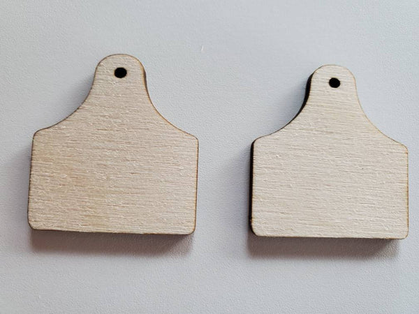 Wood Cow Tag Earring Blanks