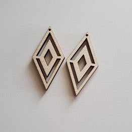 Wood Inverted Diamond Earring Blanks