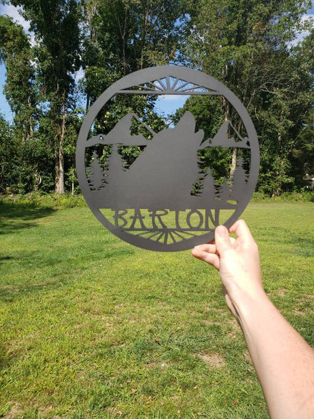 "10.5"" Custom Name Wolf Wood Sign"