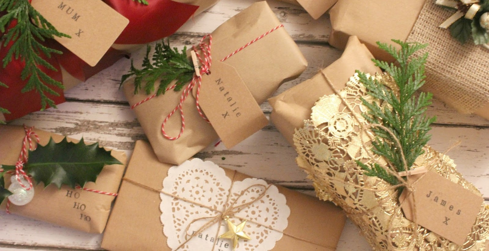Sustainable brown Christmas wrapped presents.