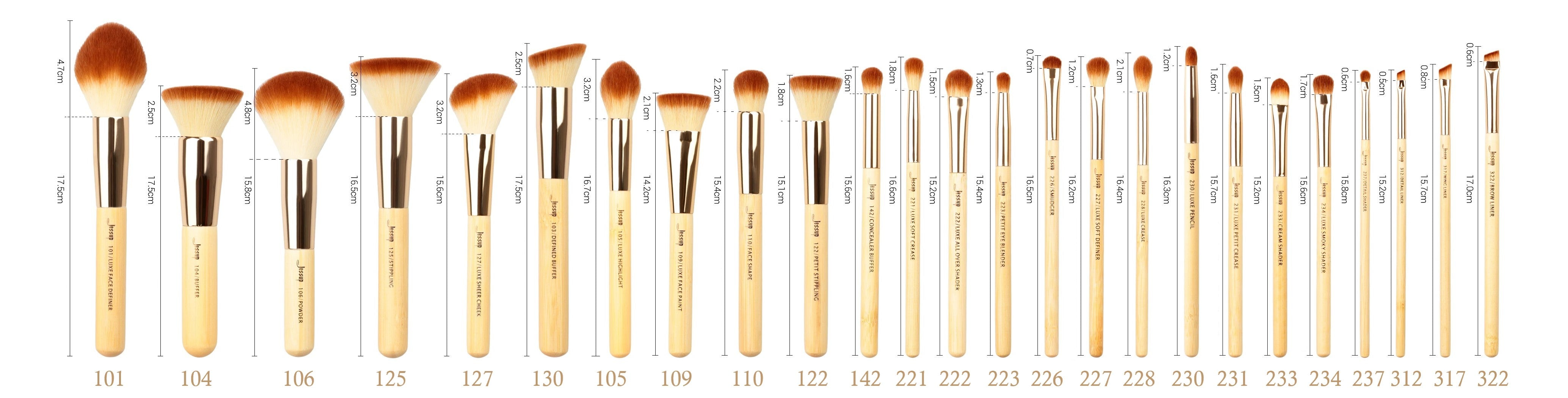 All 25 brushes shown with dimensions of handles and ends. Shown with product numbers.