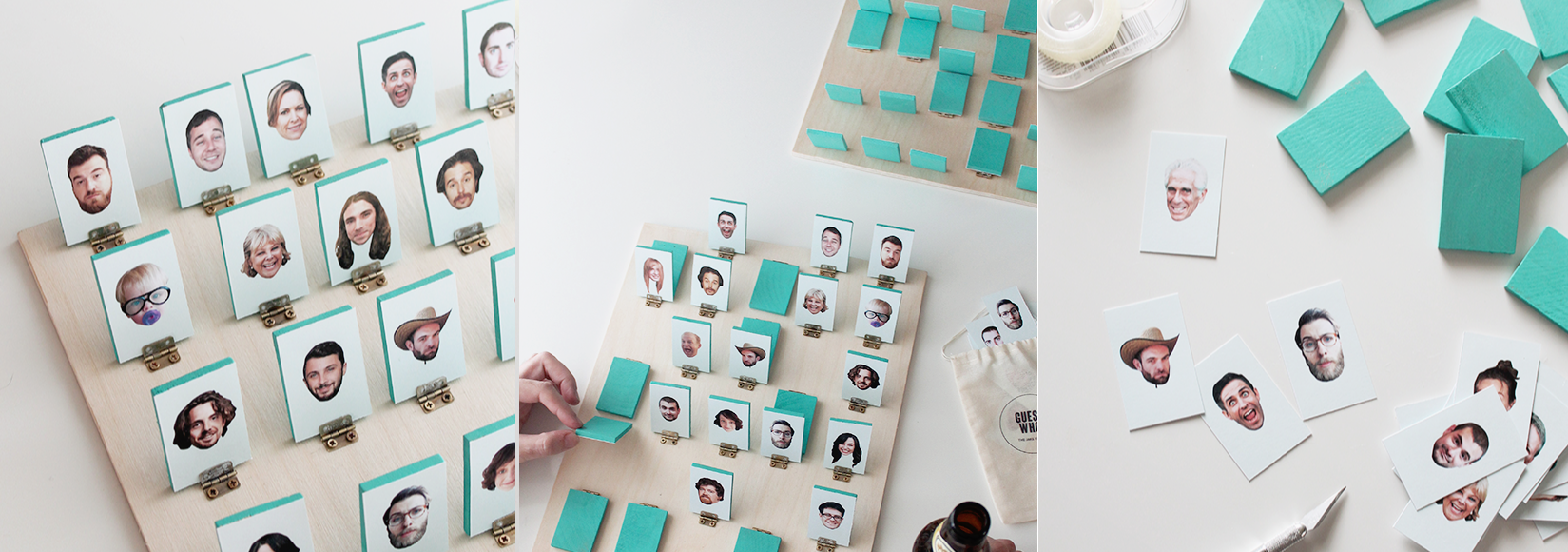 Personalised Guess Who? board made using MDF and coloured wooden boards.