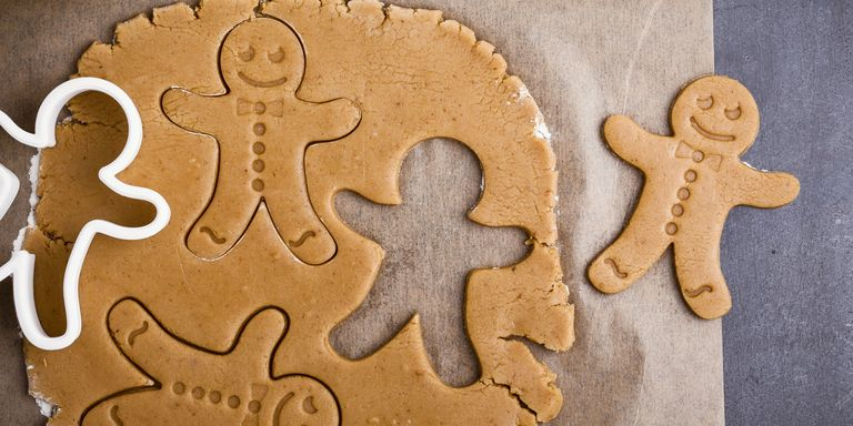 Gingerbread men cut out with a mould.