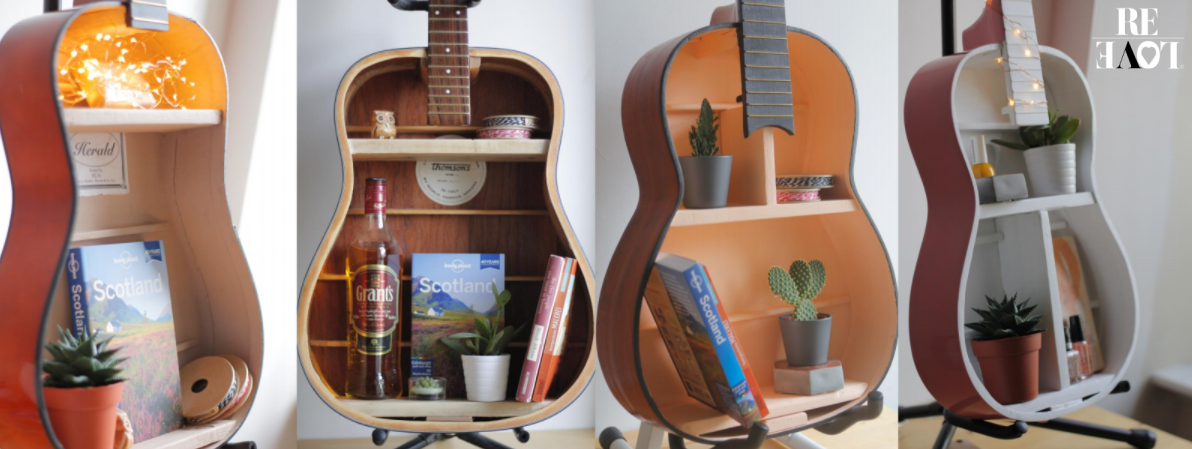 Four upcycled guitar shelves from our previous projects at ReLove.
