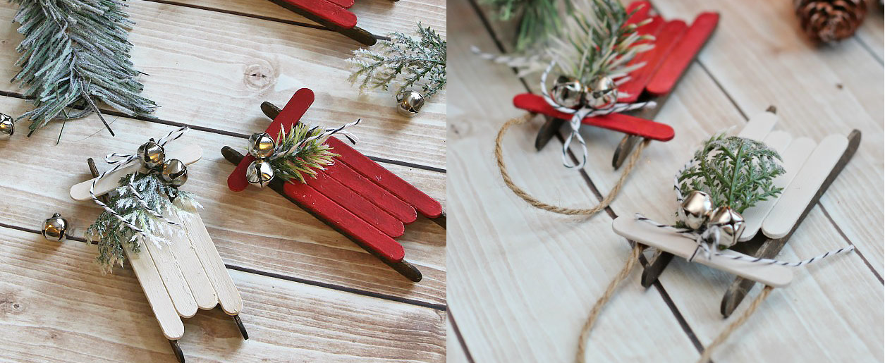 Repurposed popsicle sticks are used to make a Christmas decorative sled.