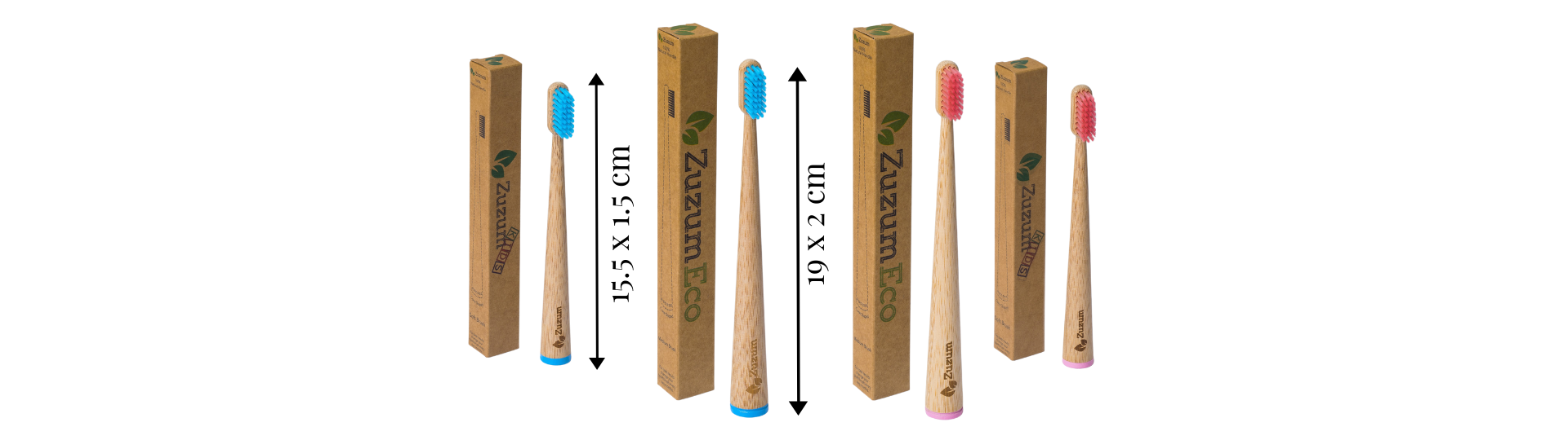 The dimensions of our family (adult + kids) self standing toothbrushes. In pink and blue.