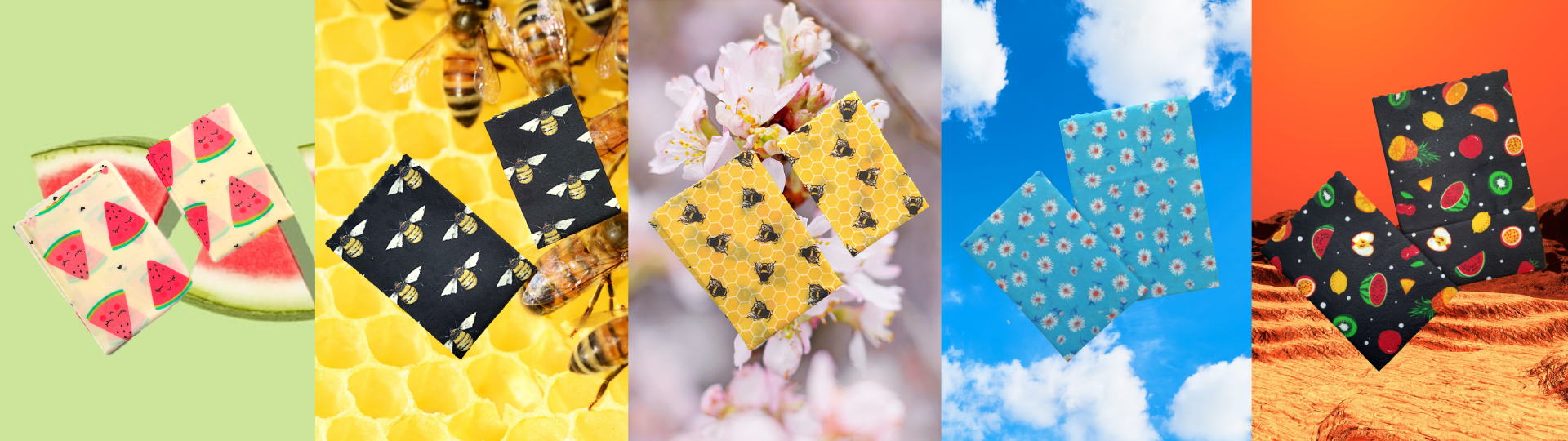Our 5 patterns of vegan wax wraps over colourful backgrounds.
