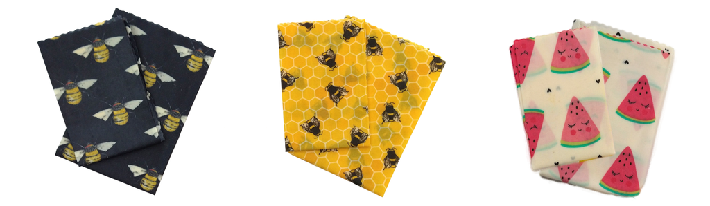 3 of the 5 vegan wax wrap patterns we offer.