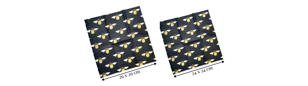 The dimensions of our 2 sizes of vegan wax wraps. In buzzing bees dark pattern.