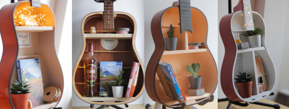 Image shows four guitar shelves made from waste, damaged guitars into repurposed products.