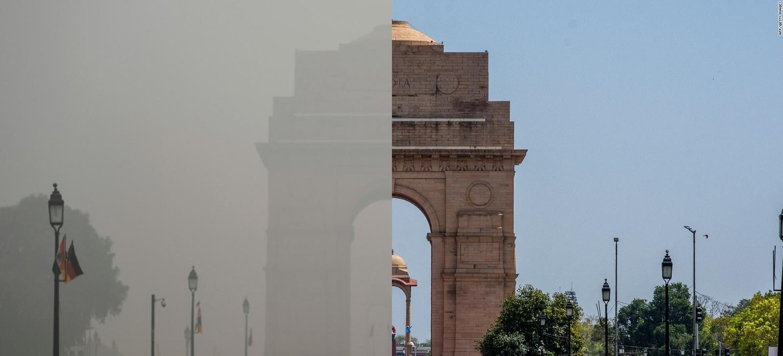 India before and after lockdown showing difference in air pollution levels clearly.