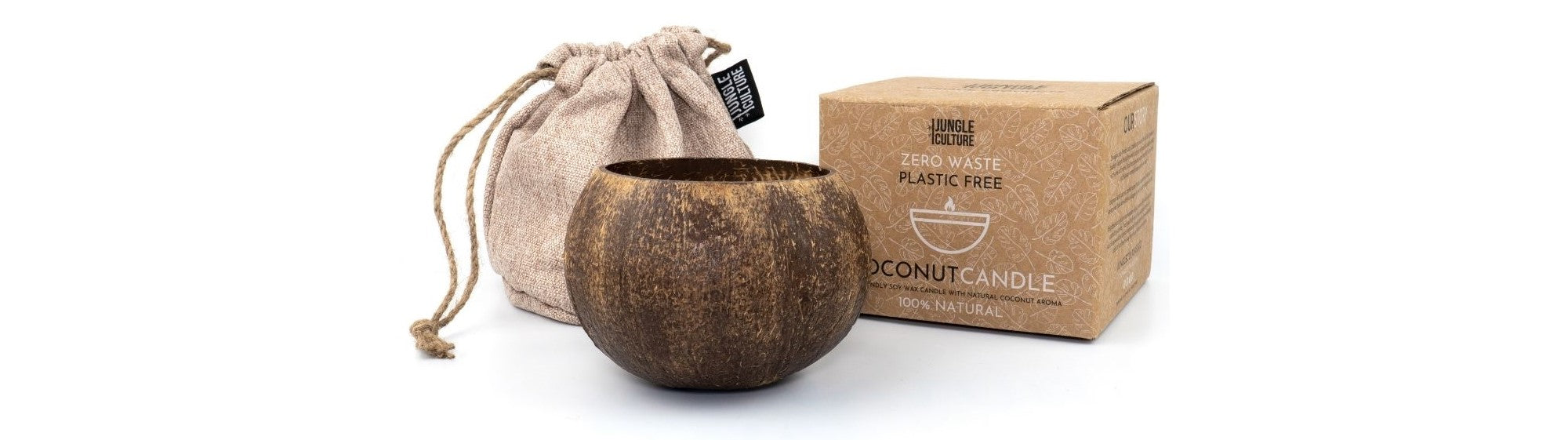 An eco coconut candle, cotton carry bag and kraft paper box.