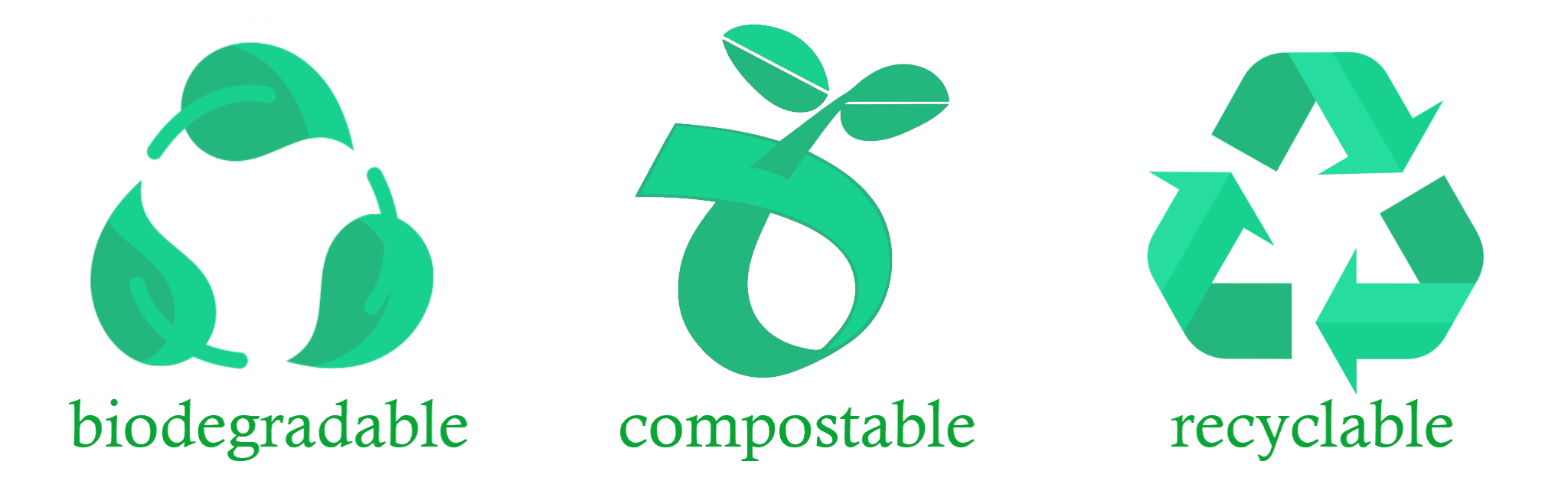 Biodegradable, compostable, recyclable icons in shades of green