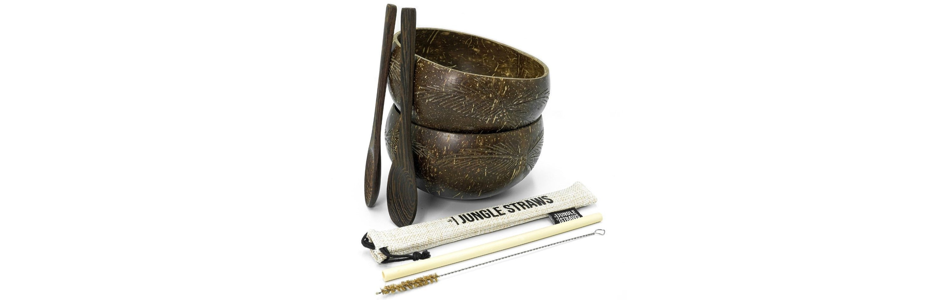 The coconut bowl double set - with two coconut bowls, two reclaimed spoons and one bamboo straw in a natural jute carry bag and a coconut cleaning brush for your straws.