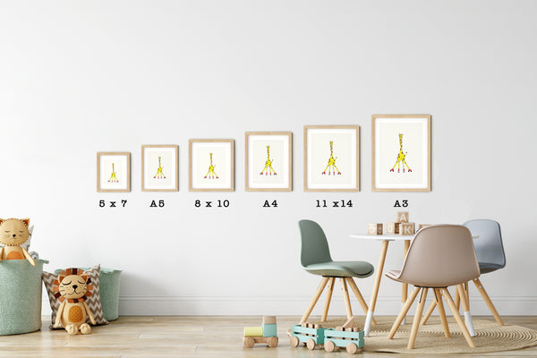 All kids room wall art from Ellah & Friends are available in six different sizes