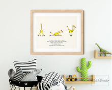 Load image into Gallery viewer, Roller Skating Giraffe Nursery Rhyme Print