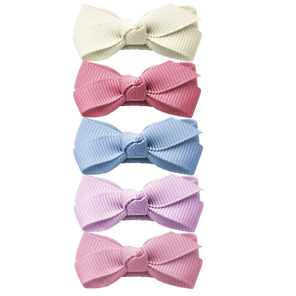 Baby Wisp Chelsea Boutique Bow Snap Clip 5pk - Royal Family-BW1518-Pumpkin Pie Kids Canada