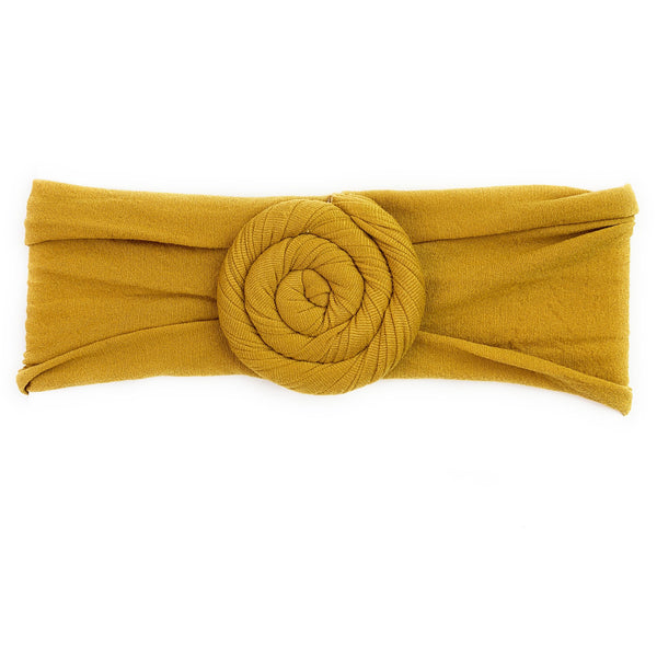 Baby Wisp Nylon Turban Roll Headband - Mustard Yellow-BW1144-Pumpkin Pie Kids Canada