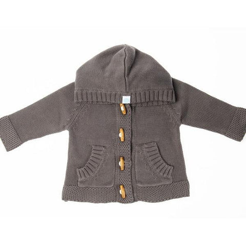 Beba Bean Knit Hoodie Cardigan - Grey-KHG 0-3M-Pumpkin Pie Kids Canada