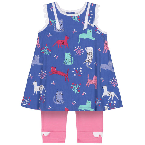 deux par deux Dress & Capri Set - Cats-B30E11 6M-Pumpkin Pie Kids Canada