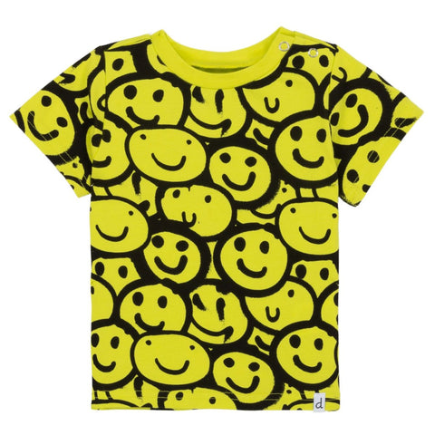 deux par deux Tee - Smiley Faces-B30S70-304 12M-Pumpkin Pie Kids Canada