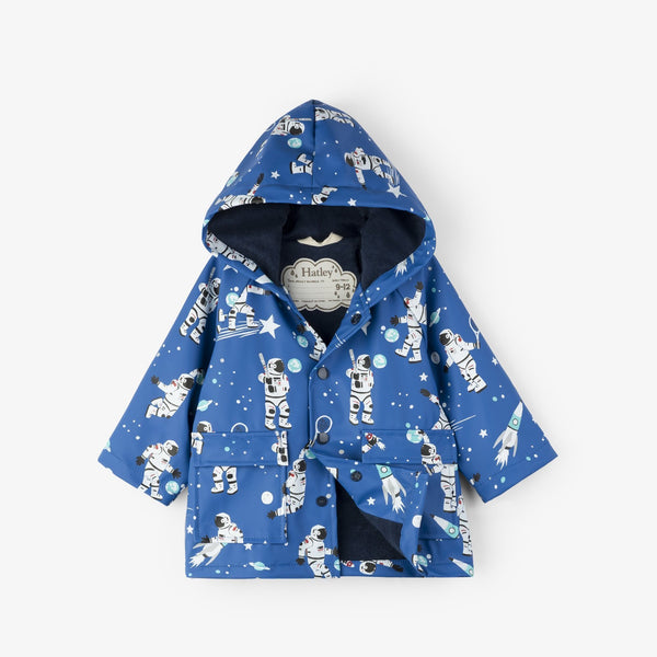 Hatley Baby Raincoat - Athletic Astronauts-F18ASI1317 9-12-Pumpkin Pie Kids Canada