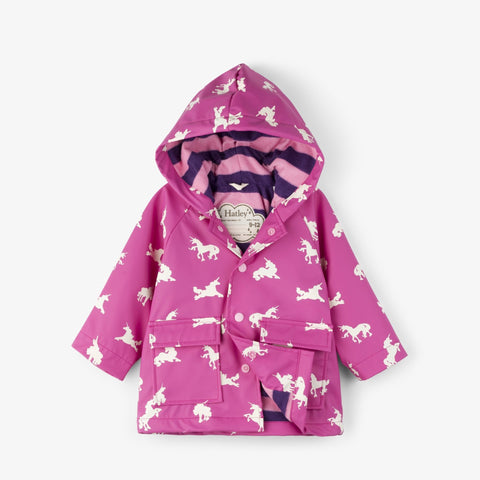 Hatley Baby Raincoat - Unicorn Silhouettes Colour Changing-F18UCI1317 9-12-Pumpkin Pie Kids Canada