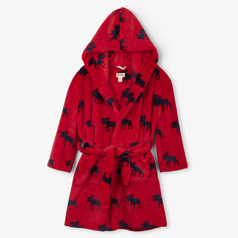 Hatley Fleece Robe - Moose Gathering-F19MOK225 S-Pumpkin Pie Kids Canada