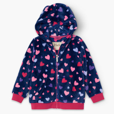 Hatley Fuzzy Fleece Hooded Jacket - Confetti Hearts-Pumpkin Pie Kids Canada