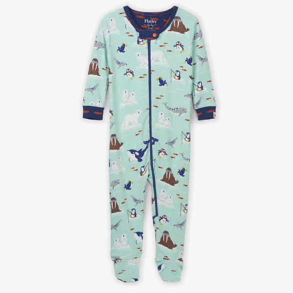 Hatley Organic Footed Coverall - Arctic Friends-F19AAI202 0-3M-Pumpkin Pie Kids Canada