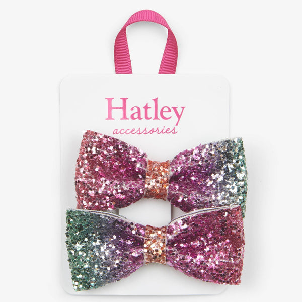 Hatley Prismatic Bows Glitter Hair Clips-F19CGH0037-Pumpkin Pie Kids Canada
