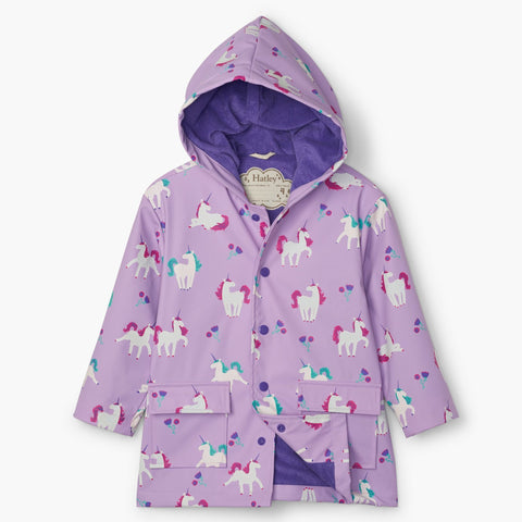 Hatley Raincoat - Colour Changing Playful Unicorns-Pumpkin Pie Kids Canada
