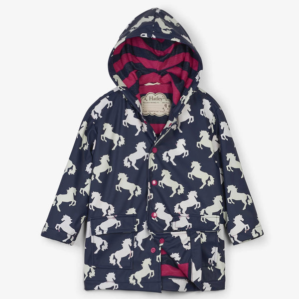 Hatley Raincoat - Playful Horses Colour Changing-F19BHK1336 2-Pumpkin Pie Kids Canada