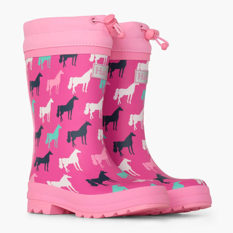 Hatley Sherpa Lined Rain Boots - Horse Silhouettes-Pumpkin Pie Kids Canada