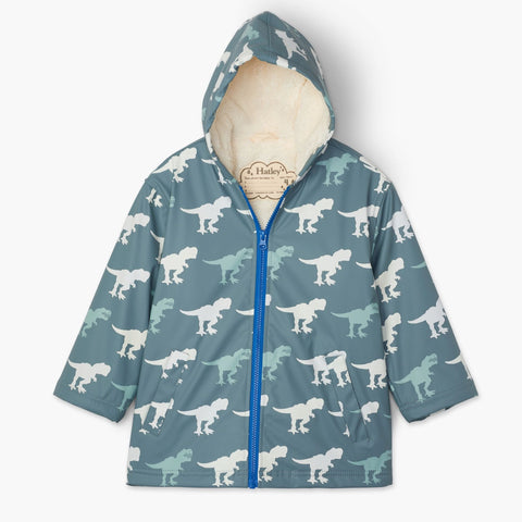 Hatley Sherpa Lined Splash Jacket - T-Rex-Pumpkin Pie Kids Canada