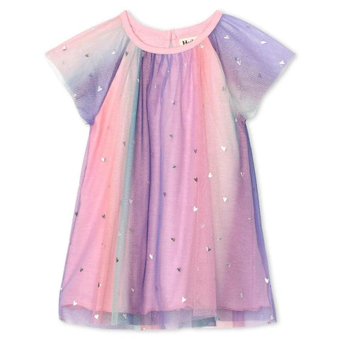 Hatley Tulle Dress - Metaliic Hearts Rainbow-S20RBI1422 9-12M-Pumpkin Pie Kids Canada