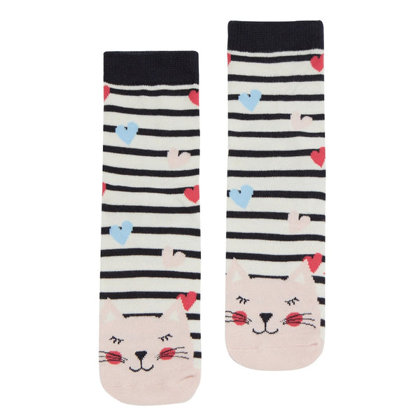 Joules Neatfeet Bamboo Socks - Stripe Cat-Pumpkin Pie Kids Canada