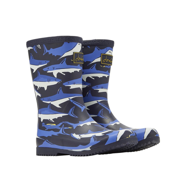 Joules Roll Up Rain Boots - Navy Sharks-204356/544 9-Pumpkin Pie Kids Canada