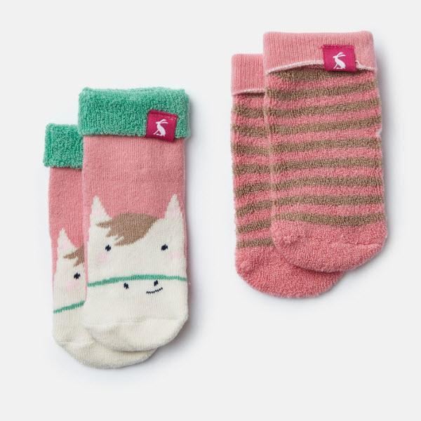 Joules Terry Socks 2pk - Pink Horse Stripe-204980/672 0-6-Pumpkin Pie Kids Canada