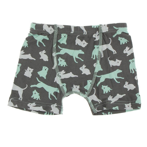 KicKee Pants Boxer Brief Single - Stone Domestic Animals-Pumpkin Pie Kids Canada