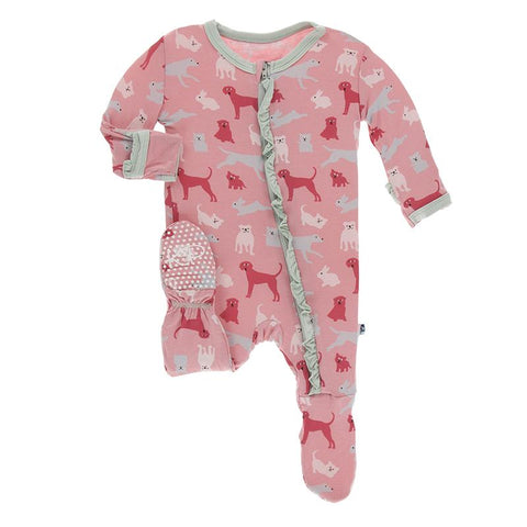 KicKee Pants Classic Ruffle Footie with Zipper - Strawberry Domestic Animals-Pumpkin Pie Kids Canada