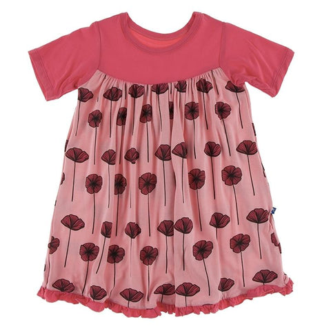 KicKee Pants Classic S/S Swing Dress - Strawberry Poppies-Pumpkin Pie Kids Canada