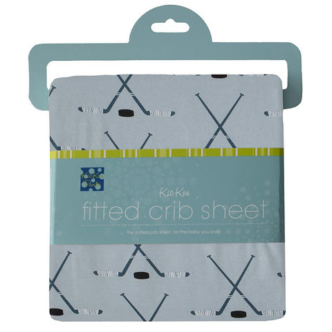 KicKee Pants Fitted Crib Sheet - Pearl Blue Hockey-BED83-1-H-S21D3-PBHO-Pumpkin Pie Kids Canada