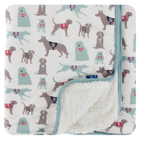 KicKee Pants Print Sherpa-Lined Stroller Blanket - Natural Canine First Responders-SLS403F20D2-NCFR-Pumpkin Pie Kids Canada