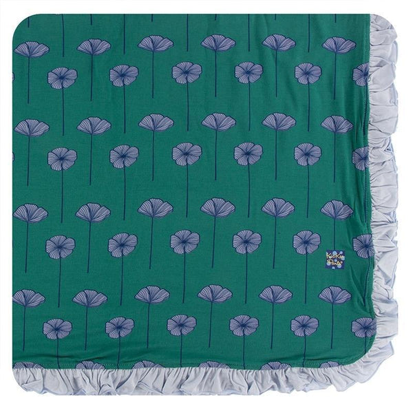 KicKee Pants Ruffle Toddler Blanket - Ivy Poppies-GTB147S20D1-IVPO-Pumpkin Pie Kids Canada