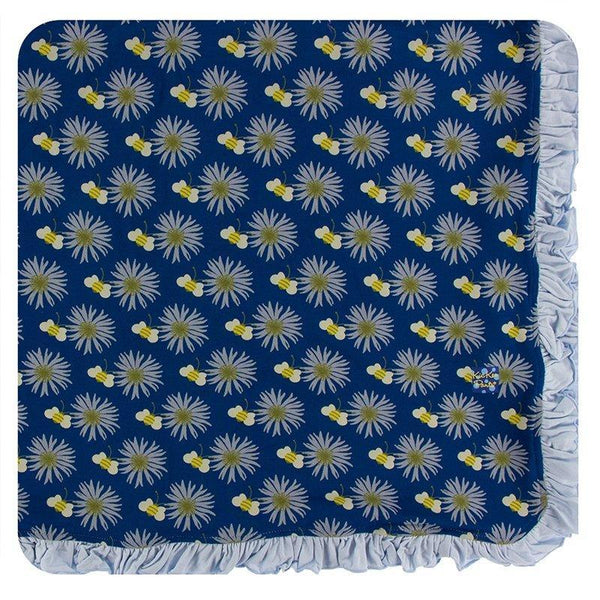 KicKee Pants Ruffle Toddler Blanket - Navy Cornflower and Bee-GTB147S20D1-NVCFB-Pumpkin Pie Kids Canada