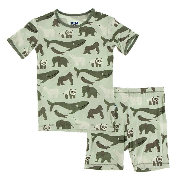 KicKee Pants S/S Pajamas with Shorts - Aloe Endangered Animals-Pumpkin Pie Kids Canada