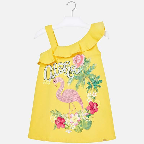 Mayoral Knit Dress - Yellow Sequin Flamingo-3953-029 5-Pumpkin Pie Kids Canada