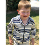 Me & Henry Hooded Cardigan - Blue/White Stripe-Pumpkin Pie Kids Canada